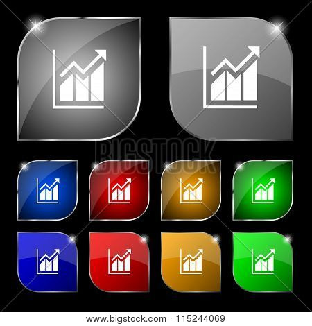 Growing Bar Chart Icon Sign. Set Of Ten Colorful Buttons With Glare.