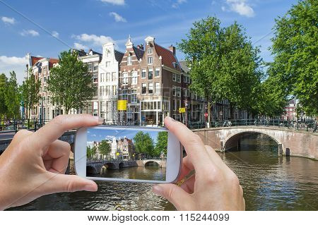 Taking Pictures By Smart Phone In Amsterdam (netherlands)