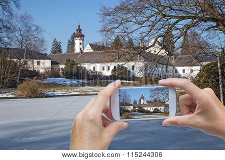 Taking Pictures Of Castle In Winter