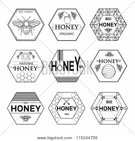 Badges and labels graphic design for bee design