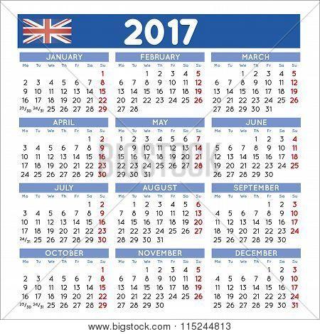2017 Squared Calendar English Uk