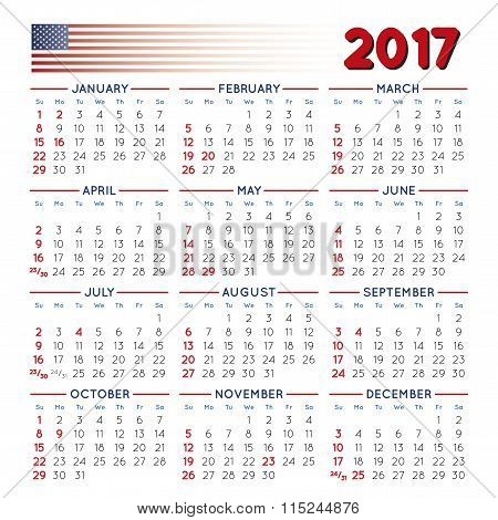2017 Squared Calendar Usa Festive