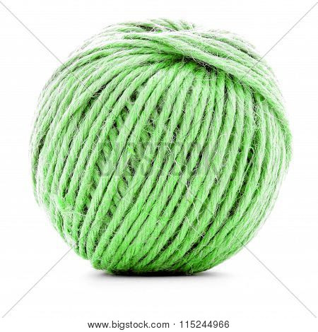Green Braided Clew, Knitting Yarn Ball Isolated On White Background