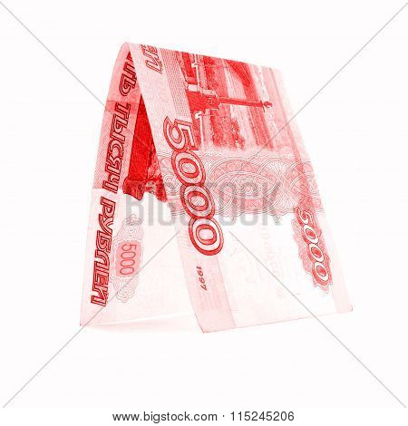 Russian Ruble Banknote Entry, Rouble Shelty Isolated On White Background