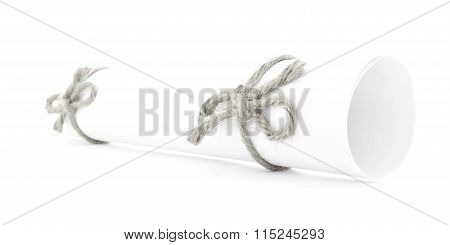 White Paper Scroll Tied With Cord, Two Natural Bows Isolated