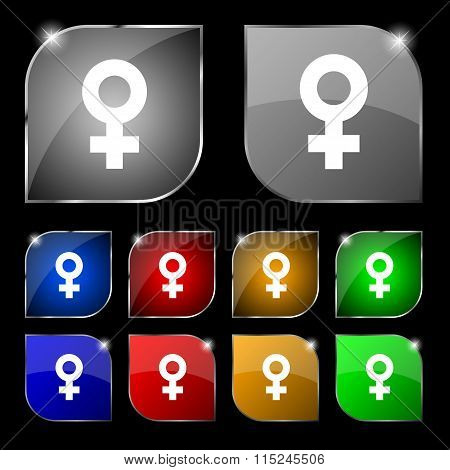 Female Icon Sign. Set Of Ten Colorful Buttons With Glare.