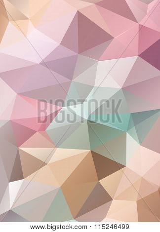Abstract Vector Mosaic Background Of Triangles Polygonal Wallpaper. Web Design In Bright Colors, Cre