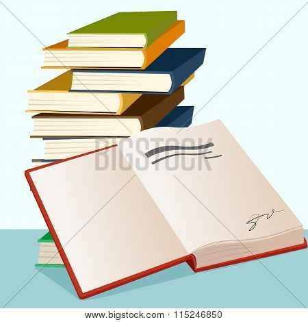 opened book lying near stack of books