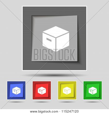 Packaging Cardboard Box Icon Sign On Original Five Colored Buttons.