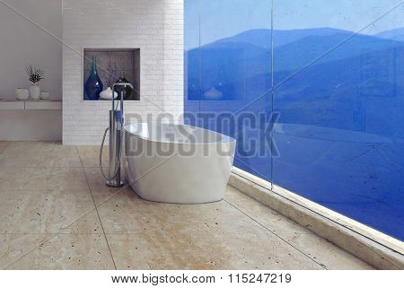 Freestanding bathtub with a panoramic mountain view through a glass wall in a luxury modern bathroom interior. 3d Rendering.