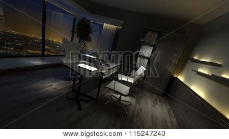 Empty dark interior of a stylish home office dimly lit by side lights with a desk and chairs in front of a view window overlooking town. 3d rendering