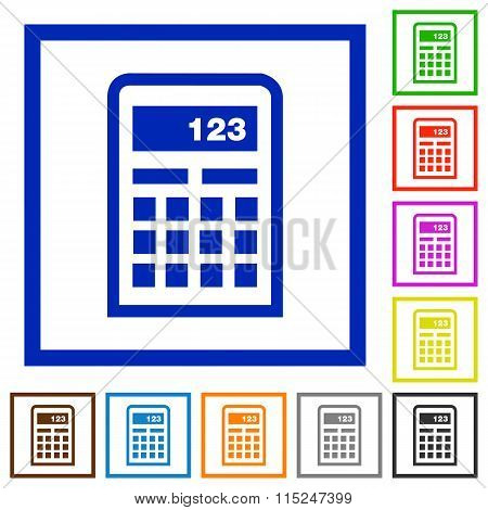 Calculator Framed Flat Icons