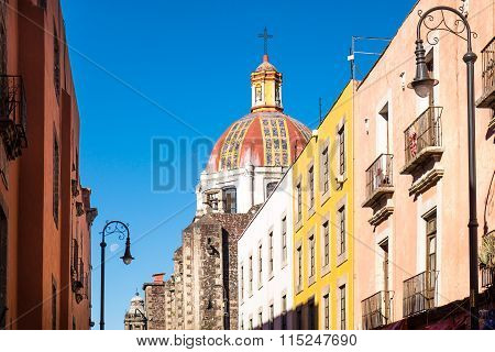 Scenic View Of Colorful Houses And Church Roof In Mexico City
