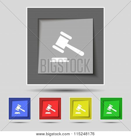 Judge Or Auction Hammer Icon Sign On Original Five Colored Buttons.