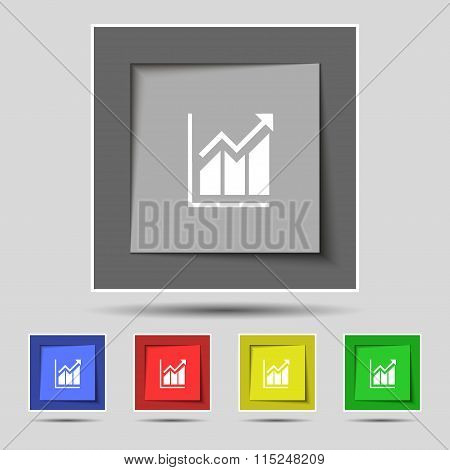Growing Bar Chart Icon Sign On Original Five Colored Buttons.