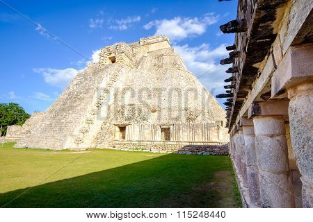 View Of Prehistoric Mayan Uxmal Pyramid In Mexico