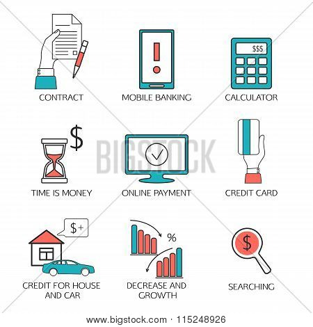 Banking service outline icons set,  deposit, credit, money transfer. Contract, Mobile banking, calcu