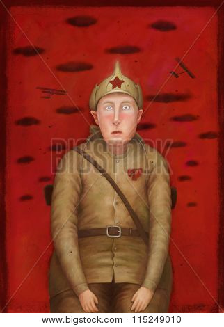 The illustration of a scared Red Army soldier posing to photographer on red background