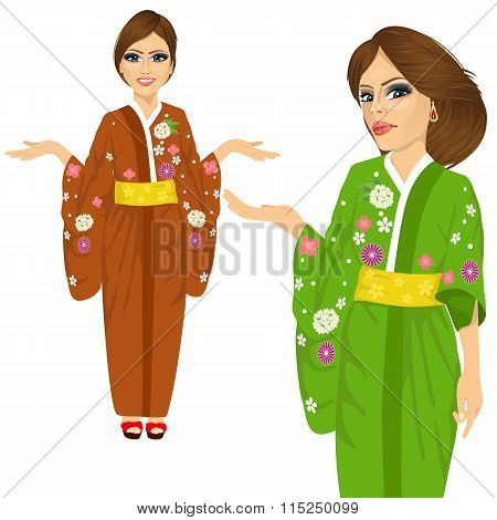 attractive japanese woman wearing kimono with flowers pointing and holding something