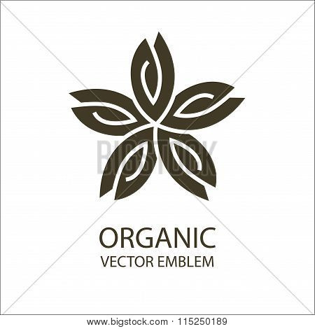 Vector flower organic emblem, outline symbol
