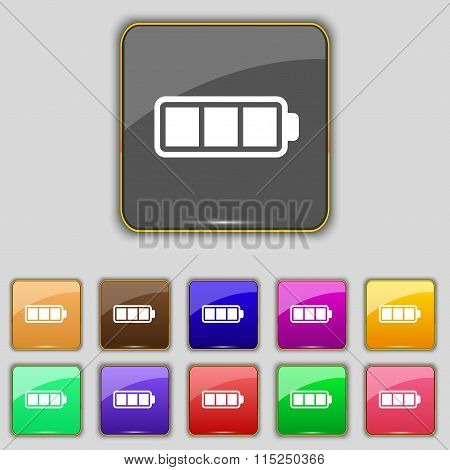 Battery Fully Charged Icon Sign. Set With Eleven Colored Buttons For Your Site.