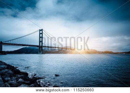 golden gate bridge in sunset, san francisco, usa.