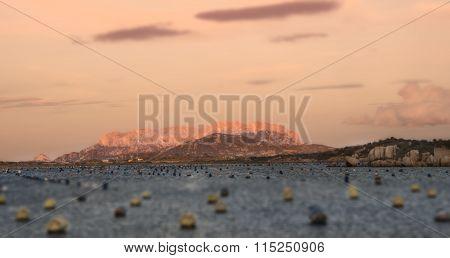 Sardinia tavolara island at sunset