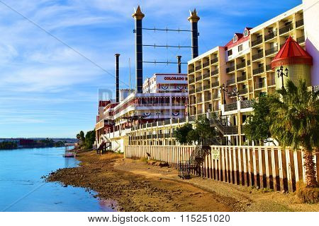 January 15, 2016 in Laughlin, NV:  Colorado Belle Casino in the shape of a riverboat overlooking the Colorado River and where tourists can stay at the hotel or gamble in the casino during a getaway vacation taken in Laughlin, NV