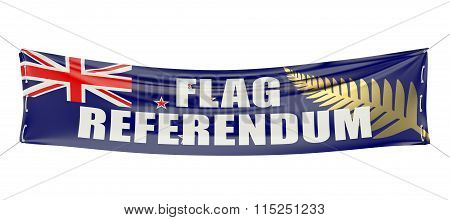 New Zealand Flag Referendum Concept On The Red Banner