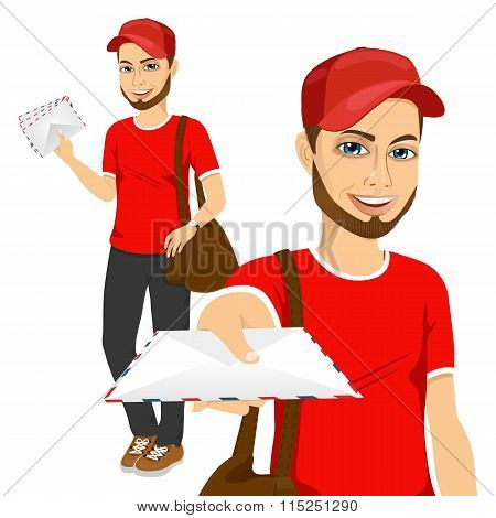 handsome young hipster post man in red uniform delivering mail with brown leather bag