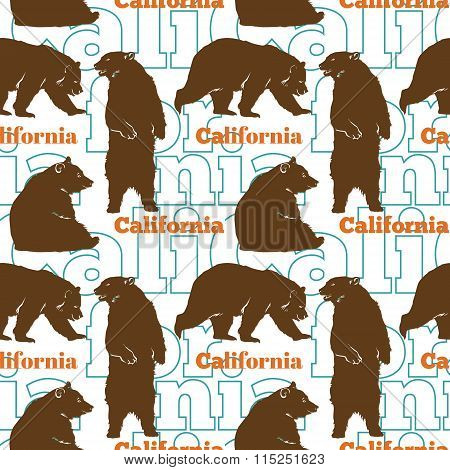 Vector Travel California Bears Seamless Pattern with brown bears sitting, standing up and walking.