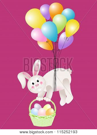 Bunny carrying basket Easter eggs flying with balloons