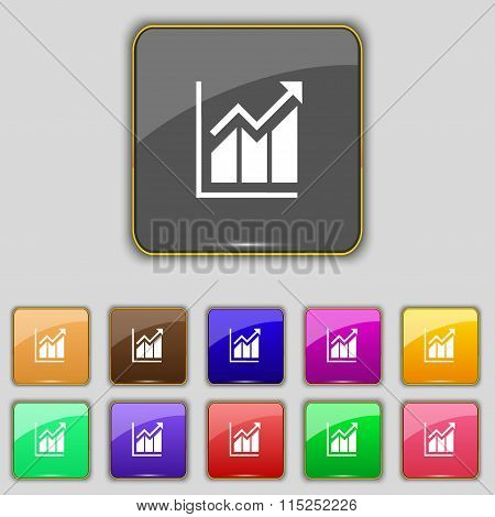 Growing Bar Chart Icon Sign. Set With Eleven Colored Buttons For Your Site.