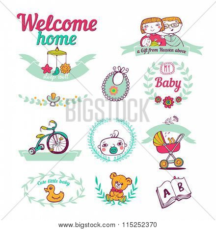 Set of hand-drawn stickers Newborn welcome home