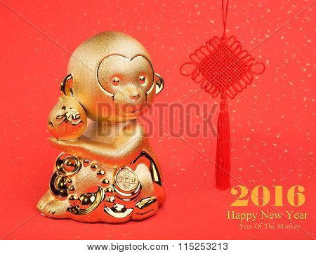 chinese new year decoration with gold monkey,2016 is year of the monkey