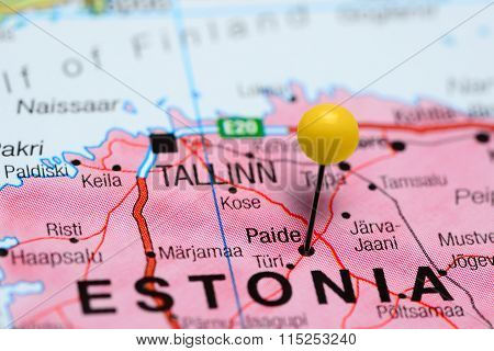 Paide pinned on a map of Estonia