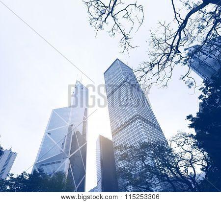 Gigantic skyscrapers from below in Hong Kong