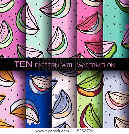 Bright Set Of Seamless Patterns With Watermelons