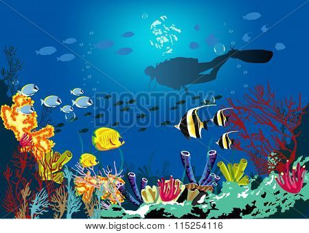 Coral reef with various species of fish and silhouette of diver over blue sea background.