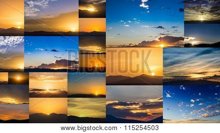 Collage with dawn and dusk nature sky photography