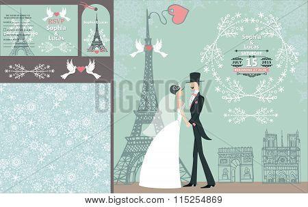 Wedding invitation set.Bride,groom.Paris Winter