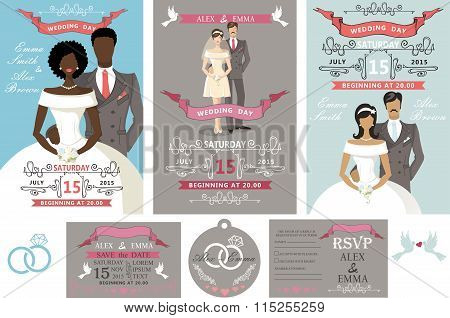 Wedding invitations set.Different bride and groom