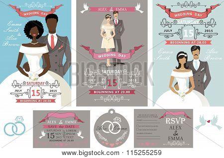 Wedding invitations set.Different bride and groom
