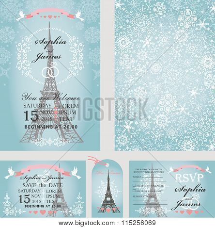 Wedding invitations.Eifel tower,snowflakes.Paris Winter