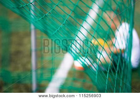 Soccer Goal, Net And Reserve Player