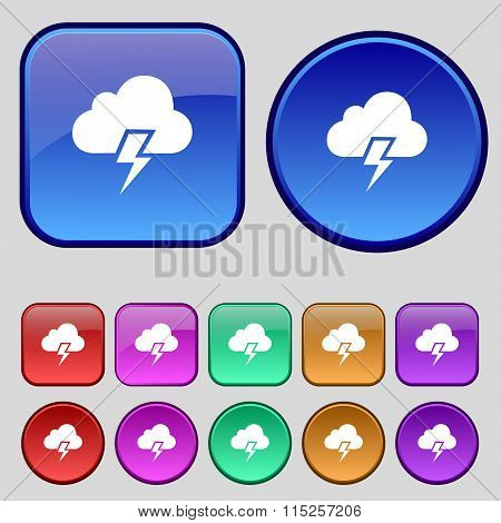 Heavy Thunderstorm Icon Sign. A Set Of Twelve Vintage Buttons For Your Design.