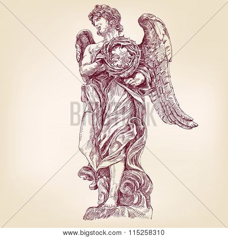 angel holding a crown of thorns hand drawn vector llustration realistic sketch