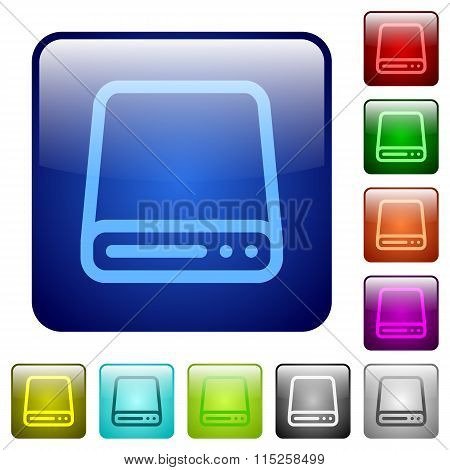 Color Hard Disk Square Buttons