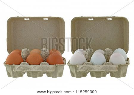 Beige paper pulp egg tray packages made of recycled paper full of fresh chicken and ducks eggs isolated on white