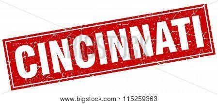 Cincinnati red square grunge vintage isolated stamp